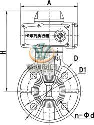 SD971电动塑料蝶阀 (外形尺寸图)