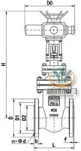 电动暗杆闸阀 (连接尺寸图)